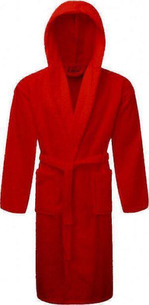 Μπουρνούζι ΚΟΜΒΟΣ Πετσετέ με κουκούλα Red Medium