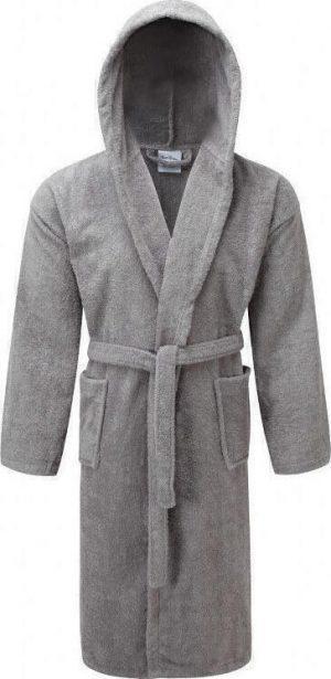 Μπουρνούζι ΚΟΜΒΟΣ Πετσετέ με κουκούλα Grey Medium