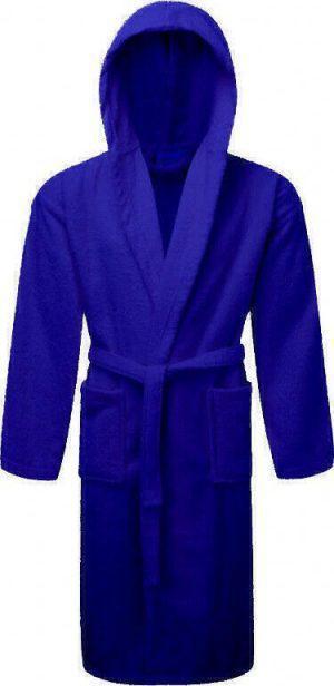 Μπουρνούζι ΚΟΜΒΟΣ Πετσετέ με κουκούλα Blue Large