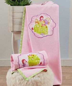 Kentia Κουβέρτα Κούνιας Fairy Tale 14 Πικέ 140x100 Ροζ