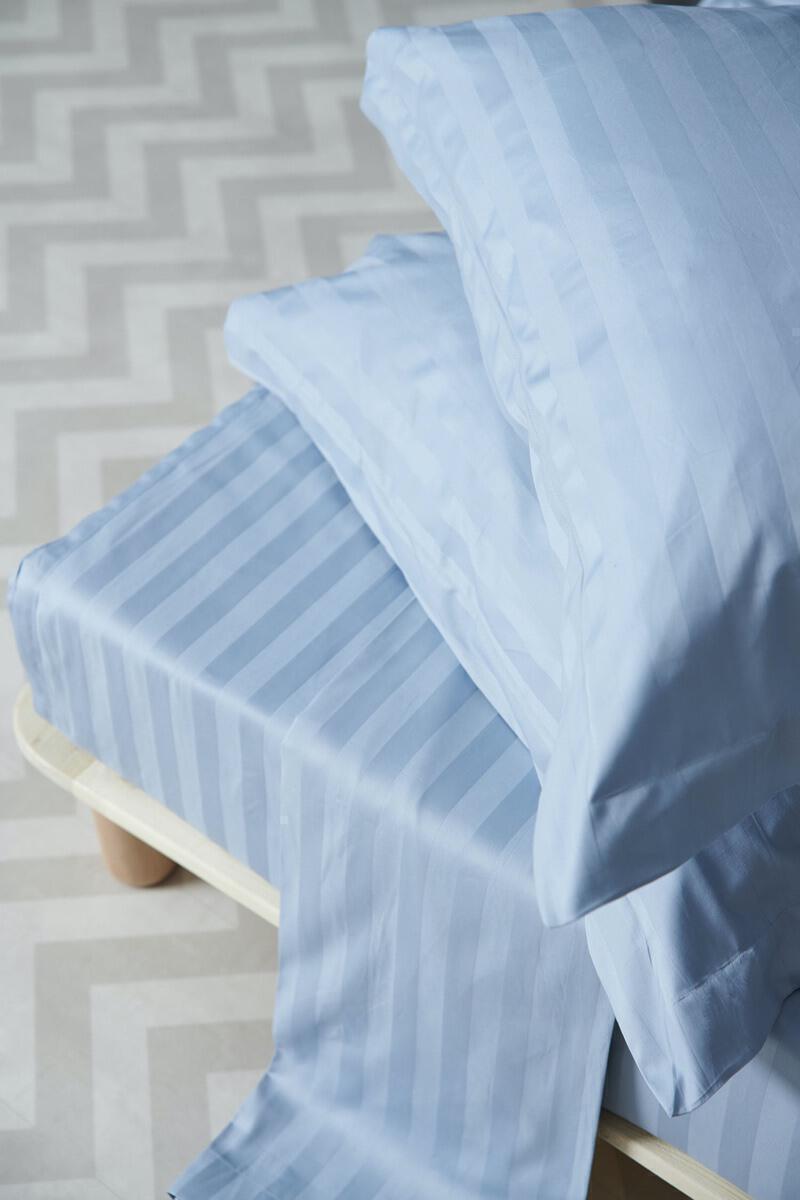 Σεντονι Χωρίς Λάστιχο Satin Stripes Υπερδιπλο 240x270 SATIN STRIPES Blue Palamaiki