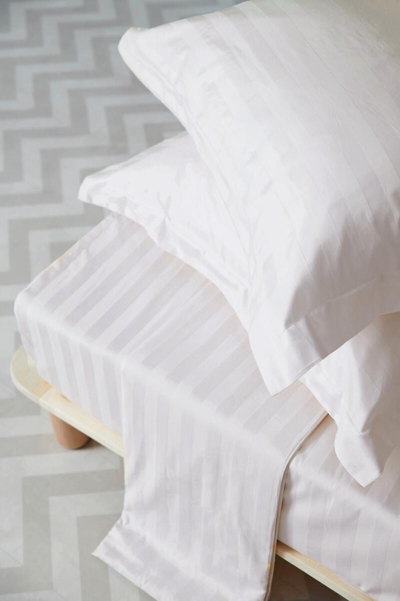 Σετ 3 Τμχ  Παπλωματοθηκη Satin Stripes Υπερδιπλη 240x255 SATIN STRIPES White Palamaiki