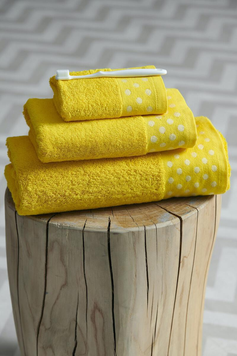 Σετ 3 Τμχ  Πετσέτες Towels Collection  30x50,50x100,70x140 DOTS Yellow Palamaiki