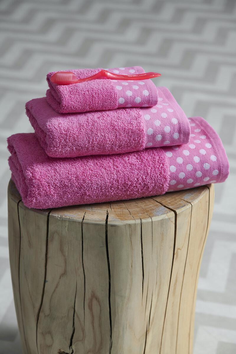 Σετ 3 Τμχ  Πετσέτες Towels Collection  30x50,50x100,70x140 DOTS Pink Palamaiki