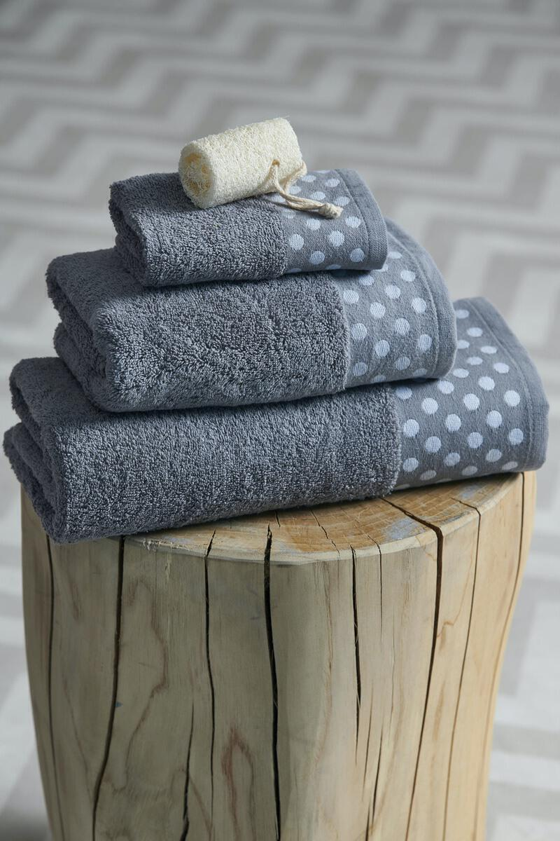 Σετ 3 Τμχ  Πετσέτες Towels Collection  30x50,50x100,70x140 DOTS Grey Palamaiki