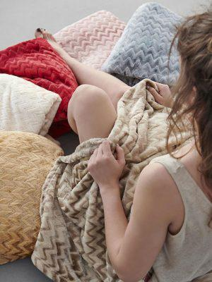 Κουβερτα Flannel Fleece Ημιδιπλη 160x220 ZIGZAG Ivory Palamaiki