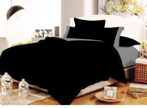 Σετ Σεντόνια ΚΟΜΒΟΣ Cotton Line Black - Grey Μονόχρωμα με Φάσα Διπλά 200x240