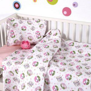 Σετ Σεντονια Bebe Κούνιας 120x160 Elvin Pink Sb home