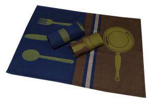 Σετ Ποτηρόπανα 3τεμ.ΚΟΜΒΟΣ Πικέ 100% Cotton 50x70 Kitchen Cutlery Brown-Dark Blue