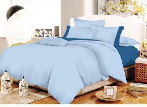 Σετ Σεντόνια ΚΟΜΒΟΣ Cotton Line Light Blue - Blue Μονόχρωμα με Φάσα Διπλά με λάστιχο 150x200+20
