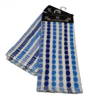 Σετ Ποτηρόπανα 2τεμ.ΚΟΜΒΟΣ πετσετέ LUXURY 100% Cotton 45x65 Blue