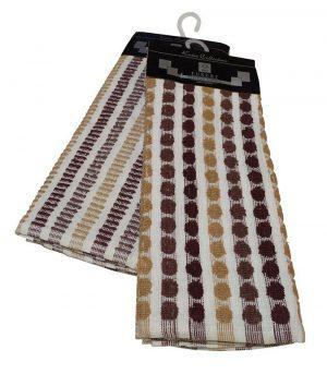 Σετ Ποτηρόπανα 2τεμ.ΚΟΜΒΟΣ πετσετέ LUXURY 100% Cotton 45x65 Brown