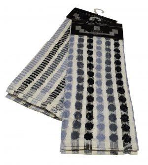 Σετ Ποτηρόπανα 2τεμ.ΚΟΜΒΟΣ πετσετέ LUXURY 100% Cotton 45x65 Grey