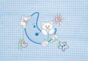 Βρεφική Κουβέρτα πικέ ADAM home 80x110 Moon Μπλε