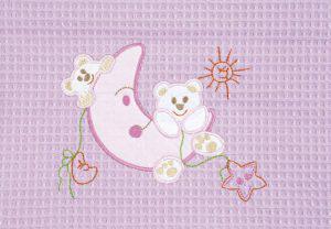 Βρεφική Κουβέρτα πικέ ADAM home 80x110 Moon Ροζ