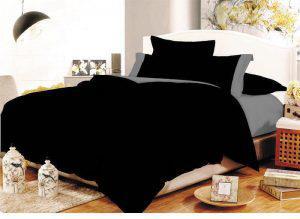 Παπλωματοθήκη ΚΟΜΒΟΣ Cotton Line Black-Grey Μονόχρωμη με Φάσα Διπλή 200x240