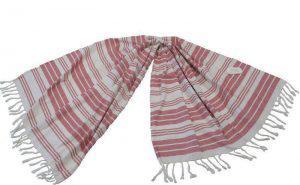 Πετσέτα Θαλάσσης Παρεό ΚΟΜΒΟΣ δύο όψεων Κόκκινο Ρίγες 90x180
