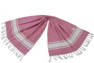 Πετσέτα Θαλάσσης Παρεό ΚΟΜΒΟΣ δύο όψεων Ροζ Ρίγα 90x180