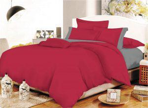 Σετ Σεντόνια ΚΟΜΒΟΣ Cotton Line Red - Grey Μονόχρωμα με Φάσα Υπέρδιπλα με λάστιχο 170x200+20