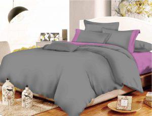 Σετ Σεντόνια ΚΟΜΒΟΣ Cotton Line Grey-Lilac Μονόχρωμα με Φάσα Υπέρδιπλα με λάστιχο 170x200+20