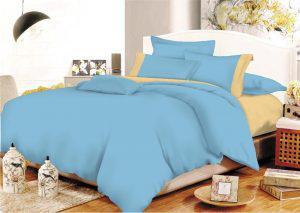 Σετ Σεντόνια ΚΟΜΒΟΣ Cotton Line Light Blue - Beige Μονόχρωμα με Φάσα Υπέρδιπλα με λάστιχο 170x200+20