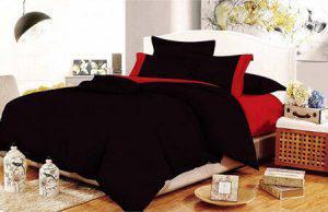 Σετ Σεντόνια ΚΟΜΒΟΣ Cotton Line Black - Red Μονόχρωμα με Φάσα Διπλά 200x240