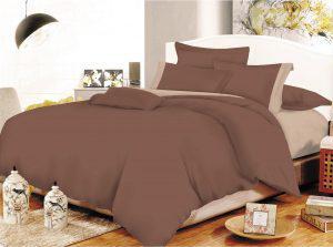 Σετ Σεντόνια ΚΟΜΒΟΣ Cotton Line Brown - Beige Μονόχρωμα με Φάσα Διπλά 200x240