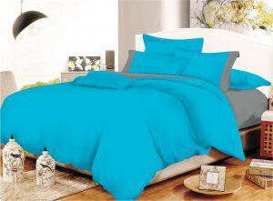 Σετ Σεντόνια ΚΟΜΒΟΣ Cotton Line Turquoise - Grey Μονόχρωμα με Φάσα Διπλά με λάστιχο 150x200+20