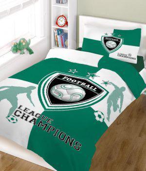 Σετ σεντόνια ΚΟΜΒΟΣ champions GREEN WHITE μονά 160x240