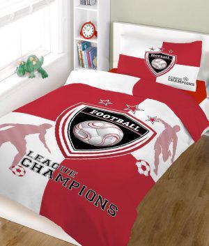 Σετ σεντόνια ΚΟΜΒΟΣ champions RED WHITE μονά 160x240