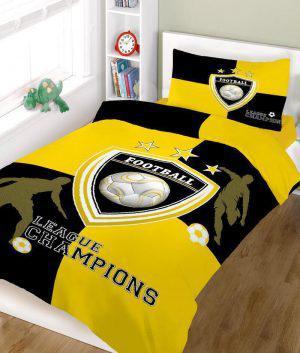 Πάπλωμα ΚΟΜΒΟΣ champions YELLOW BLACK μονό 160x240