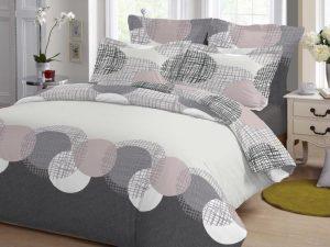 Σετ Σεντόνια ΚΟΜΒΟΣ Cotton Line Printed CIRCLES GREY Υπέρδιπλα με λάστιχο 170x200+20