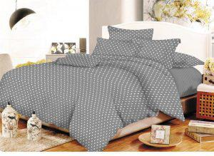 Σετ Σεντόνια ΚΟΜΒΟΣ Cotton Line Printed Dots Grey Υπέρδιπλα με λάστιχο 170x200+20