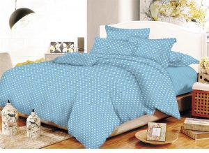 Σετ Σεντόνια ΚΟΜΒΟΣ Cotton Line Printed Dots Light Blue Υπέρδιπλα με λάστιχο 170x200+20