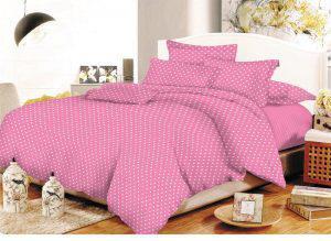 Σετ Σεντόνια ΚΟΜΒΟΣ Cotton Line Printed Dots Pink Υπέρδιπλα με λάστιχο 170x200+20
