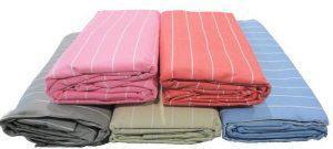 Σεντόνι ΚΟΜΒΟΣ Cotton Line printed Stripe Pink Μονό με Λάστιχο 100x200+20
