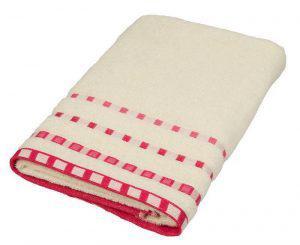 Πετσέτα ΚΟΜΒΟΣ Πεννιέ 450γρ/μ2 Πουά Ζακάρ Κρεμ-Κοραλί Χειρός 30x50