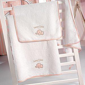Σετ Βρεφικές Πετσέτες Saint Clair Bebe Africa Pink Σετ 2τμχ (40χ60-65χ120)