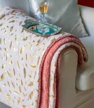 Melinen Κουβερτα Καναπε Οne Size 130x170 Sparkle Metallic Rose