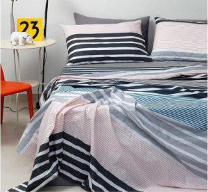 Melinen Παπλωματοθηκη Διπλη 205x240 Ultra Line Stripemania Grey