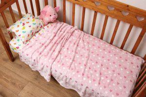 Viopros Κουβέρτα Αγκαλιάς 70x90 Καρδούλες Ροζ