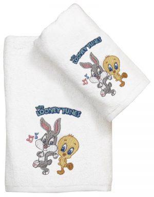 Viopros Πετσέτα Προσώπου 50x80 Baby Looney Tunes 21 Λευκό